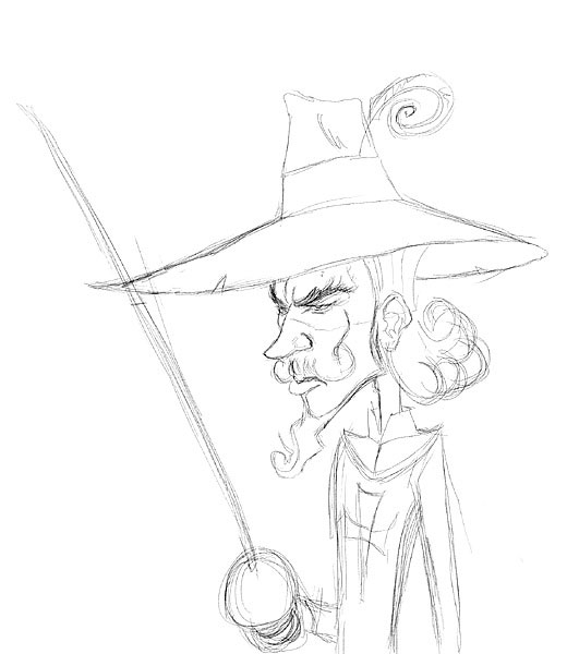 how to draw a musketeer hat